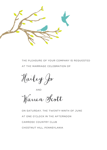 Love Birds Invitation (Print at Home)